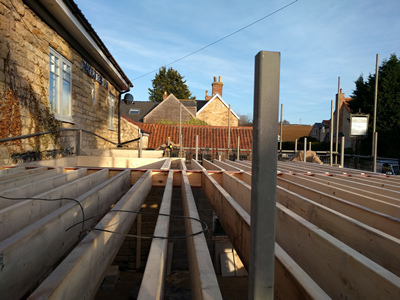 Ext. Day. Pub. Joists, roof looking due East.