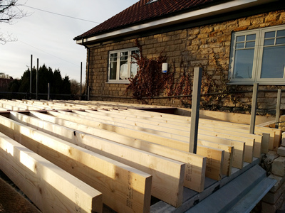 Ext. Day. Pub. Joists, roof looking North West.