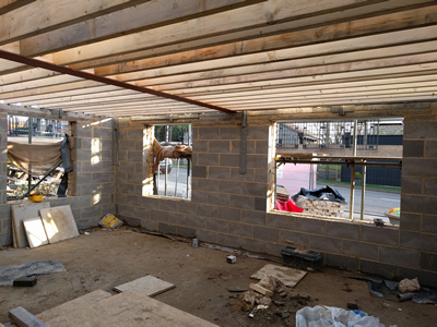 Ext. Day. Pub. Interior, Joists looking South East.