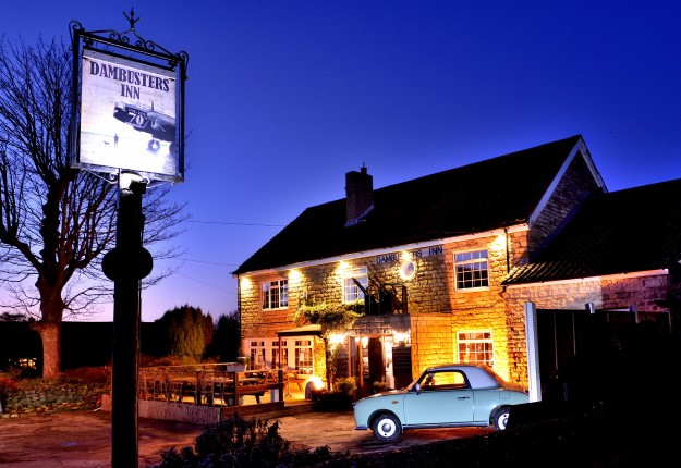 Exterior. Night. Dambusters Inn, Scampton.