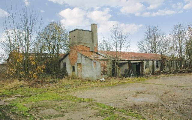 image here: Exterior Day. Neglected buildings; formerly Royal Air Force Station Ingham, 1940 until 1946
