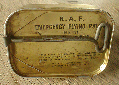 An unopened tin containing Emergency Flying Ration Mk III. Ephemera from World War II